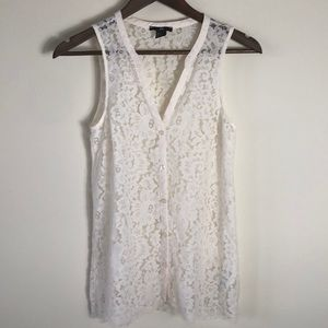 H&M Beautiful cream lace button down top